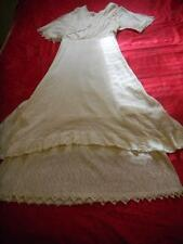 Hand Made Vintage 1896 Wedding Dress Ecru fabric with Lace Trim
