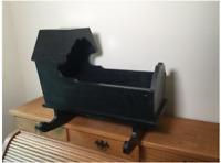 "Vintage Rocking Cradle Black Painted Wooden Rocking Cradle,Dimensions: 21""H x 25"