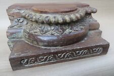 ANTIQUE SOLID WOOD HAND CARVED COLUMN CAPITAL BASE century old REUSE DECOR-09