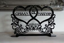Personalised Wedding Sign, Top Table Decoration, 2 Names and Date,Freestanding