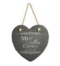 Personalised Engraved Hanging Heart Slate, Gift for Couple, Anniversary, Wedding