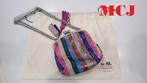 Coach Poppy Sequin Frame Chain Shoulder Bag Multicolor - New & Authentic