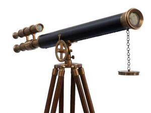 Nautical antique brass with black leather wooden tripod floor standing telescope