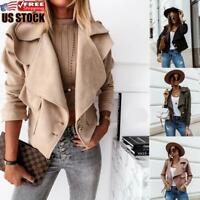 Women's Casual Suede Jacket Ladies Biker Motorcycle Button Blazer Coat Outwear