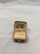 Beautiful Estee Lauder Gold Tone Rhinestone Treasure Box Solid Perfume