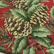"HOME Holiday Tablecloth 70"" ROUND Holly 'Pine Grove' Red Gold Green Cotton-Blend"