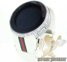 Mens White Diamond iGUCCI Ruber Strap Watch 6.50ct