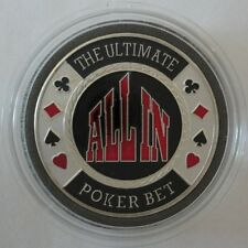 THE ULTIMATE ALL IN BET silver color Poker Card Guard Protector