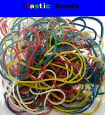 elastic rubber bands  mixed sizes natural colours 100 gram gross circa 200 loops