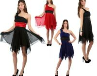 WOMENS LADIES CHIFFON ONE SHOULDER PROM PARTY EVENING COCKTAIL DRESS 8 10 12