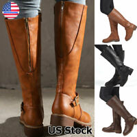 Women's Leather Zip Up Mid Calf High Flat Block Low Heel Riding Boots Shoes Size