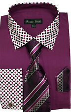 Men' 60%Cotton 40% Polyester Collar Match Sleeves POLKA DOT Tie With Hanky AH630