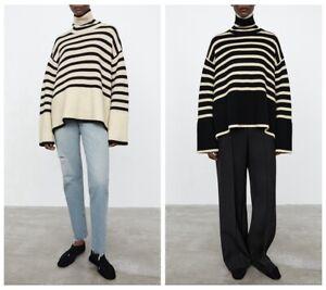 Toteme High Collar Wool Blend Striped Sweater