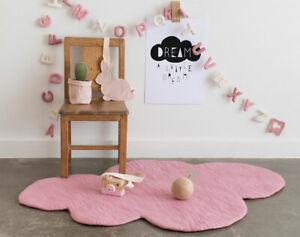 Kids Rug, SOFT PINK Cloud Rug, Nursery Baby Girls Floor Mat Decor wool, LARGE