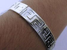 Genuine 925 Sterling SILVER Mens WIDE Bracelet Grecian Key Design 23cm,13mm Wide