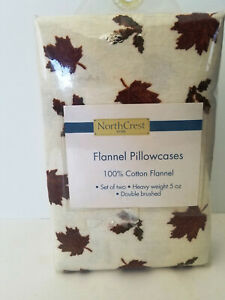 NEW Northcrest 100% Cotton Flannel Set of Two Standard Pillowcases LEAVES Theme
