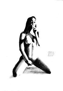 original painting A3 487OJ art by samovar oil dry brush female nude Signed 2021
