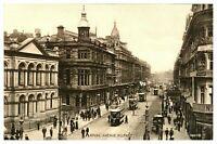 Vintage postcard Royal Avenue Belfast N Ireland tram cars W E Walton