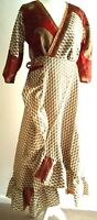 LONG frilled SILK wrap dress HIPPY BOHO RED PAISLEY FESTIVAL UK  8 10 12 14 #9