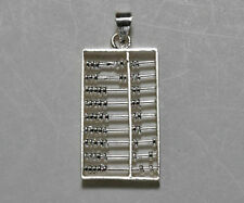 Sterling Silver Moveable Beads Abacus Pendant Charm Large NEW