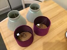 Two Pairs of Bedside/Table Lamp Shades -  Raspberry and Green