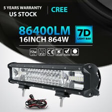 "Tri-Row 16""inch 864W CREE LED Light Bar Spot Flood Offroad Driving Fog Lamp 4WD"