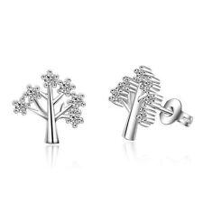 Women 925 Sterling Silver Jewelry Elegant Crystal Ear Stud Life Tree  Earrings