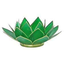 Photophore Fleur de Lotus en nacre Capiz - Vert - Porte bougie Chakra 4