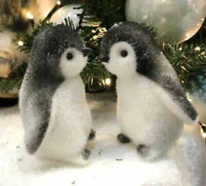 2 x Penguin Christmas Tree Hanging Decoration Christmas Baubles 9cm