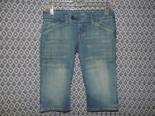 American Eagle Womens Distressed Whiskers Denim Cropped Capri Blue Jeans Size 2R