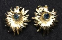 Goldtone & Blue Crystal Clip Earrings Costume Jewelry Fashion Accessory 5047F