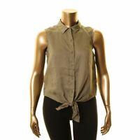 VINCE CAMUTO NEW Women's Tie Hem Linen Button Down Shirt Top TEDO