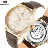 FORSINING Black Brown Leather Strap Men's Self-Wind Mechanical Wrist Watch Gift