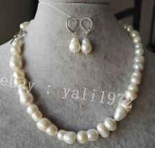 charme kultiviert weiße barock perlen halskette & ohrring set