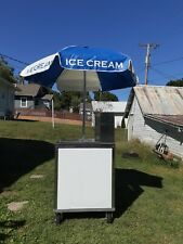 Ice Cream Cart With Umbrella And 4 Cold Plates
