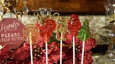 Christmas Clear Toy Candy, Barley Lollipops - 10 Count