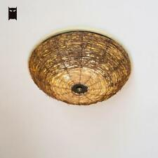 Wood Wicker Rattan Round Shade Ceiling Light Fixture Asian Lamp for Kitchen Room
