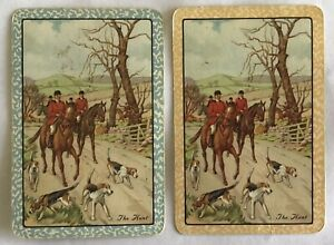 Vintage Swap Playing Cards- HORSES. Pair Of Cards Named THE HUNT.
