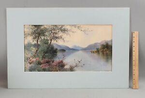 Antique WALTER CHALONER Loch Lomond Scotland Landscape Watercolor Painting