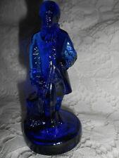 Blue Vaseline uranium glass Washington Colonial Man statue settler doll / cobalt