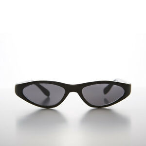 Black Edgy Small Cat Eye 90s Vintage Sunglass Gray Lens - Vicky