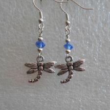 Earrings ~ Tibetan Silver Style ~ Dragonfly Charm
