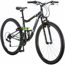 "27.5"" Men's Mongoose Mountain Bike Steel Black Grey Bicycle Dual Suspension NEW"