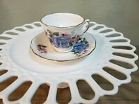 Royal Vale Numbered Teacup and Saucer, Large Blue Rose, Bone China, England