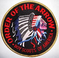 """Order of the Arrow Gold/Black 6"""" OA Jacket Patch - Boy Scouts of America"""