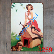 Metal Tin Sign sexy lady with doghouse Decor Pub Bar Home Vintage Retro Poster