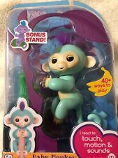 Authentic WowWee Fingerlings Turquoise Monkey - Zoe - With Bonus Stand