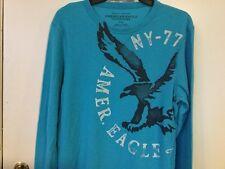 American Eagle Henley Shirt Men's M Longsleeve Aqua Blue