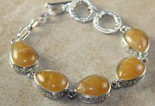Silver Vintage Style Yellow Agate Teardrop Bracelet