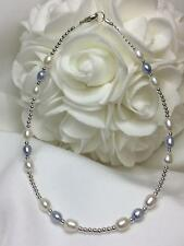 Blue & White Pearl Bracelet Sterling Silver Ankle Bracelet (2655) + Plus Sizes